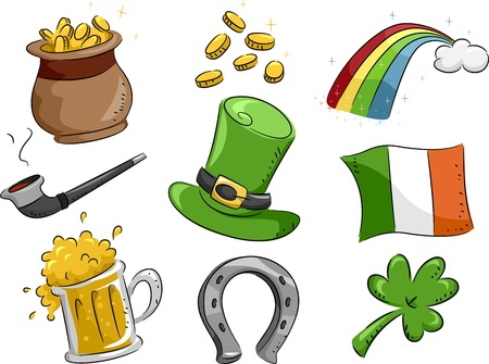 Illustration Featuring Icons with a St. Patricks Day Theme illustration