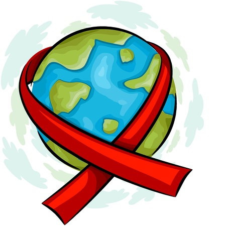 aids: Illustration of a Globe Wrapped with an AIDS Awareness Ribbon Stock Photo