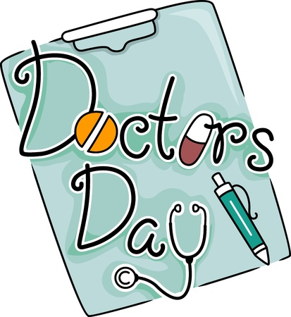 doctor clipart: Text Illustration Celebrating Doctors Day