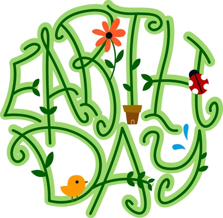 cartoon earth: Illustration of Vines Forming the Word Earth Day