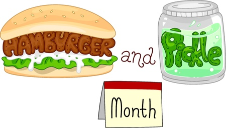 pickles: Illustration of a Hamburger and a Jar Full of Pickles