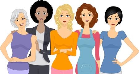 feminismo: Ilustraci�n de un grupo diverso de mujeres