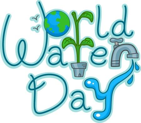 advocacy: Text Illustration Celebrating World Water Day