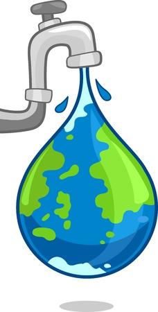 conservacion del agua: Ilustración de un mundo se refleja sobre el agua Foto de archivo