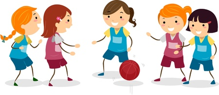 Illustration of Girls Playing Basketball illustration