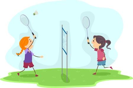 Illustration of Girls Playing Badminton Stock Illustration - 12325587