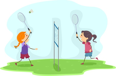 Illustration of Girls Playing Badminton Stock Illustration - 12325587