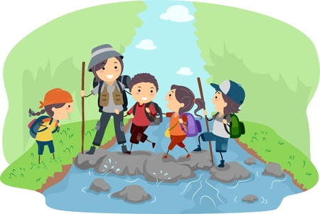 summer cartoon: Illustration of Campers Crossing a River
