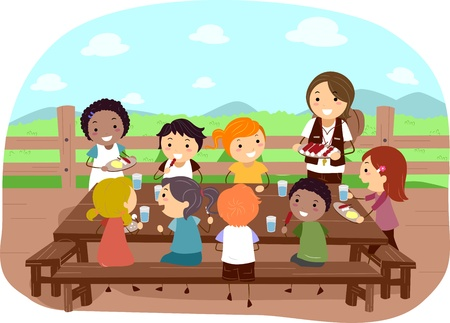 Illustration of Campers Eating Together illustration