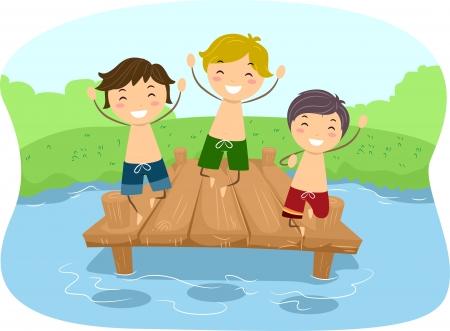 personas banandose: Ilustración de niños jugando en un muelle