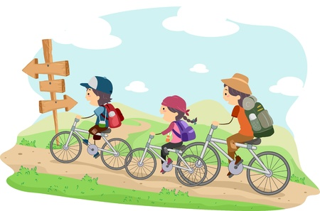 family cartoon: Illustration of a Family on a Camping Trip