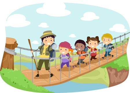 dessin enfants: Illustration de campeurs sur un pont suspendu Banque d'images