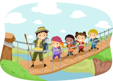Illustration of Campers Crossing a Hanging Bridge Stock Photo