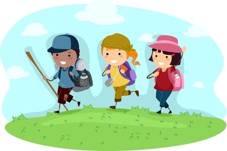 obóz: Ilustracja dzieci na biwak