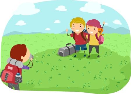 Illustration of Campers Taking Pictures illustration