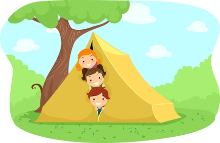 Illustration of Campers Peeking from Behind a Tent illustration