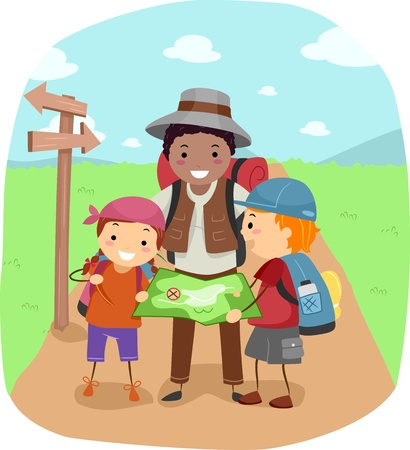 summer camp: Illustration of Campers Examining a Map