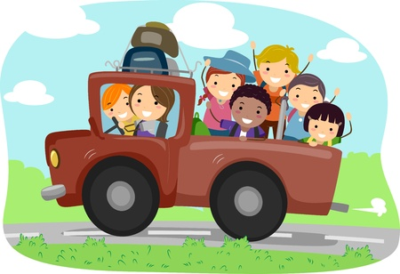 Illustration of Campers in a Truck illustration