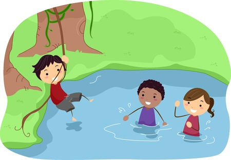 Illustration of Campers Playing in a River illustration