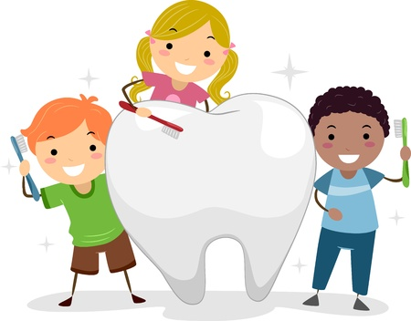 tooth brush: Illustration of Kids Brushing a Tooth