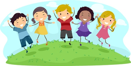 Illustration of Kids Jumping with Glee illustration