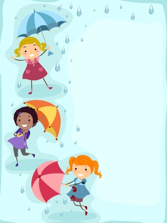 Illustration of Kids Playing in the Rain illustration