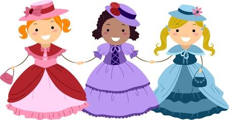 Illustration of Kids Dressed in Victorian Costumes illustration