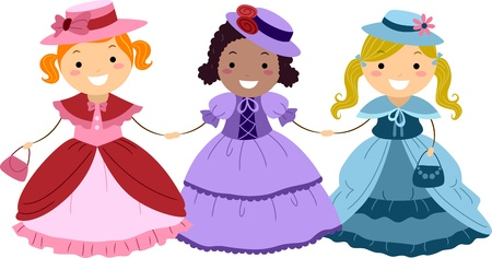 kids costume: Illustration of Kids Dressed in Victorian Costumes