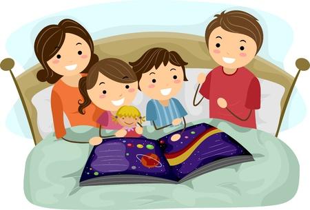 family clipart: Illustrazione di bambini ascoltare una storia Bedtime