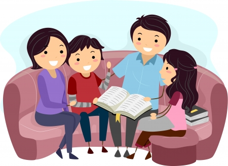 cartoon reading: Illustration of a Family Studying the Bible Together