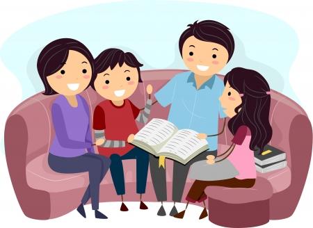 biblia: Ilustraci�n de una familia Estudiar la Biblia Juntos Foto de archivo