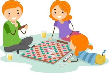 convivencia familiar: Ilustraci�n de una familia un juego de mesa