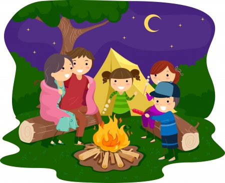 camp fire: Illustration of a Family Gathered Around a Bonfire