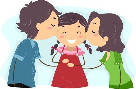 child clipart: Illustration of Parents Kissing their Daughter Stock Photo