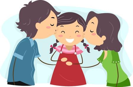 convivencia familiar: Ilustraci�n de besar a los padres de su hija Foto de archivo