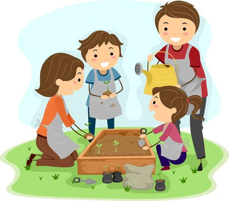 planting: Illustration of a Family Planting Plants Together