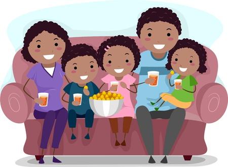 family clipart: Illustrazione di una famiglia Guardando uno show televisivo insieme