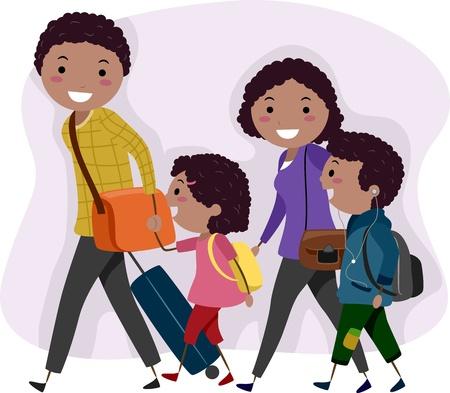 family clipart: Illustrazione di una famiglia in gita