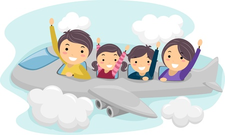 avion caricatura: Ilustraci�n de una familia en un viaje Foto de archivo