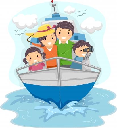 barco caricatura: Ilustración de una familia viajando en barco