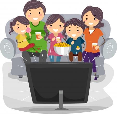 ver tv: Ilustración de una familia viendo un programa de televisión juntos