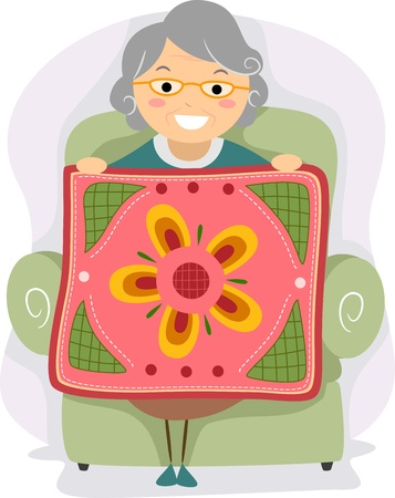quilt: Illustration of a Grandmother Proudly Holding a Quilt Stock Photo