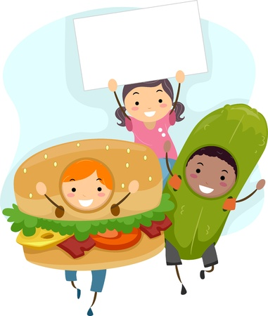 Illustration of Children in Costume (Hamburger and Pickle) with a Blank Board Stock Illustration - 12325610