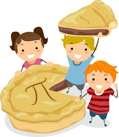 tourtes: Illustration de Kids R�unis autour d'une tarte