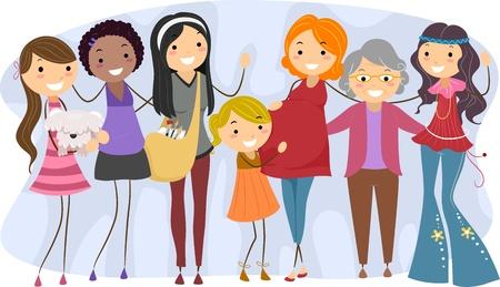 old dame: Illustrazione di donne di diverse generazioni