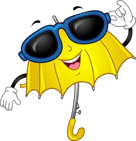 sun protection: Mascot Illustration of an Umbrella