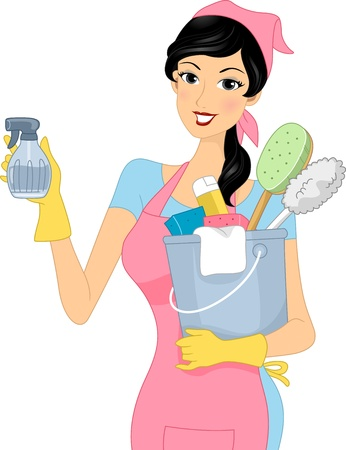 cleaning: Illustration of a Girl Carrying Cleaning Materials