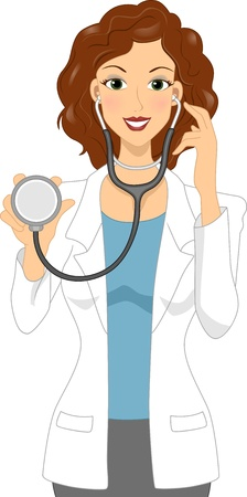 Illustration of a Female Doctor Holding a Stethoscope Stock Illustration - 12575327