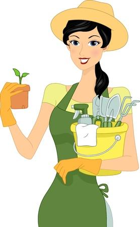 Illustration of a Girl Carrying Gardening Materials illustration