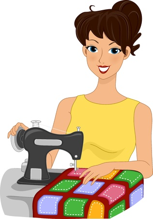 quilting: Illustration of a Girl Making a Quilt